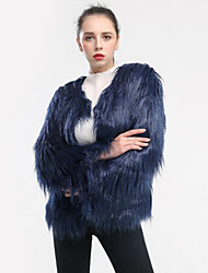 cheap -Women's Solid Colored Winter Fur Coat Short Holiday Long Sleeve Faux Fur Coat Tops White