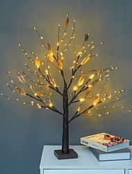 cheap -Indoor Decor Light LED Golden Leaf Retro Tree Lamp Battery Operated Artificial Branch Light Christmas Valentine's Day Living Room Bedroom Home Decoration Table Lamp LED Night Light