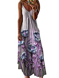 cheap -Women's A Line Dress Maxi long Dress Yellow Light Green Violet Sleeveless Pattern Summer Casual 2021 S M L XL XXL