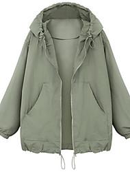 cheap -Women's Plus Size Jacket Pocket Front Zip Plain Regular Hooded Work Fall & Winter Green Beige Big Size XL XXL 3XL 4XL