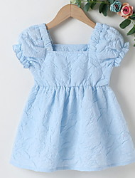 cheap -Baby Girls' Basic Solid Colored Ruched Short Sleeve Dress Blue