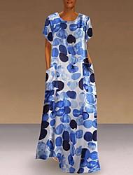 cheap -Women's A Line Dress Maxi long Dress Blue Green Orange Sleeveless Print Spring Summer Casual / Daily 2021 S M L XL XXL