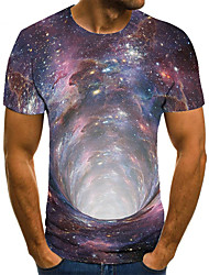 cheap -Men's Unisex Tee T shirt 3D Print Graphic Prints Interstellar Plus Size Print Short Sleeve Casual Tops Basic Fashion Designer Big and Tall Blue