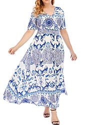 cheap -Women's Plus Size Dress Swing Dress Maxi long Dress Short Sleeve Graphic Blue XL 2XL 3XL 4XL 5XL