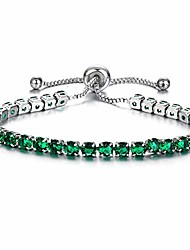 cheap -vn trends elegant and classic stainless steel and cubic zirconia bracelet for women and girls adjustable size charm bracelet (emerald-silver)