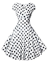 cheap -Audrey Hepburn Polka Dots 1950s Vintage Vacation Dress Dress Rockabilly Prom Dress Women's Costume Red / White / Red+Blue / Black / White Vintage Cosplay Homecoming Prom Short Sleeve Knee Length