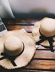 cheap -Mommy and Me Folding Seaside Big Along Sunscreen Straw Hats