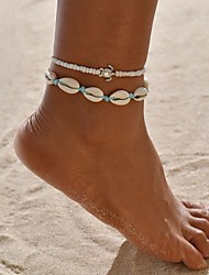 cheap -Anklet Fashion Boho Women's Body Jewelry For Holiday Beach Double Layered Resin Shell Alloy Turtle Silver 2 PCS