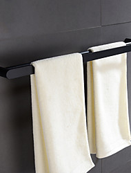 cheap -Multifuntion Towel Bar New Design Stainless Steel 2-tower Bar Wall Mounted for Bathroom Black 1pc