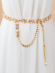 cheap -Women's Chain Party Dress Club Gold Belt Solid Colored / Imitation Pearl / Winter / Spring / Vintage / Alloy