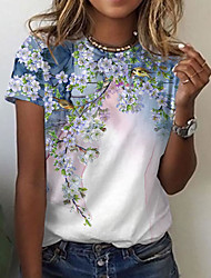 cheap -Women's Floral Theme Painting T shirt Floral Bird Print Round Neck Basic Tops White