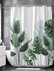 cheap -Shower Curtain With Hooks Suitable For Separate Wet And Dry Zone Divide Bathroom Shower Curtain Waterproof Oil-proof Floral / Botanicals