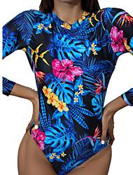 cheap -2021 new long-sleeved one-piece swimsuit female print backless tight-fitting european and american sexy swimwear sweet bikini spot