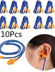 cheap -10Pcs Soft Silicone Corded Ear Plugs ears Protector Reusable Hearing Protection Noise Reduction Earplugs Earmuff