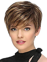 cheap -vvgymmo short wigs for white women, brown mixed blonde hair wig with cute bangs, soft natural looking synthetic full wigs for daily party with a wig net p090gd
