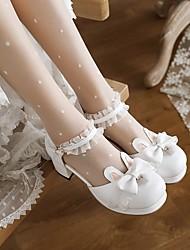 cheap -Women's Lolita Shoes Chunky Heel Round Toe PU Synthetics White Black Pink