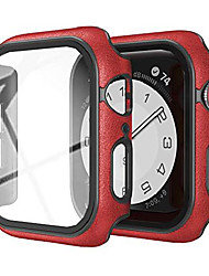 cheap -for apple watch case 40mm leather series se/4/5/6 sreen protector hard pc glass cover for iwatch 4/5/6/se (40mm red)