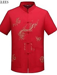 cheap -chinese dragon embroidery tang linen shirt men mandarin collar hanfu shirts mens tai chi wushu outfit china shirt clothing red 210522