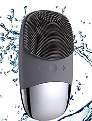 cheap -megan facial cleansing brush,usb rechargeble electric silicone face scrubber,ipx7 waterproof sonic facial massager, 3 modes cleans face brush.(black)