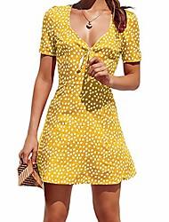 cheap -Women's A Line Dress Short Mini Dress Navy Yellow Green Red Short Sleeve Dot Summer Casual 2021 S M L XL