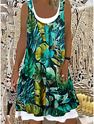 cheap -Women's A Line Dress Knee Length Dress Blue khaki Green off-white Navy Blue Sleeveless Print Spring Summer Casual / Daily 2021 S M L XL XXL XXXL