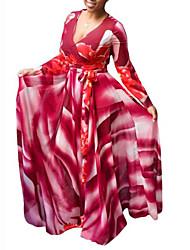 cheap -Women's Swing Dress Maxi long Dress Blue Red Long Sleeve Print Ruched Print Fall V Neck Casual Sexy 2021 L XL XXL 3XL 4XL 5XL