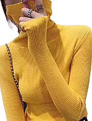 cheap -women turtleneck sweater slim fit pullover tops basic solid color knitwear (yellow,one size)