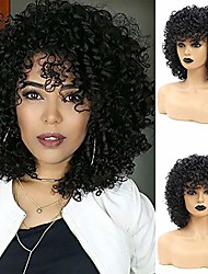 cheap -short curly wigs for black women afro wig with bangs natural synthetic hair wigs daily party full wigs for african american