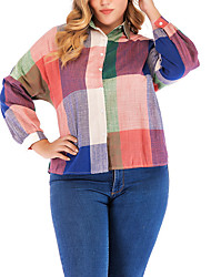cheap -Women's Plus Size Tops Shirt Plaid Long Sleeve Shirt Collar Rainbow Big Size XL XXL 3XL 4XL