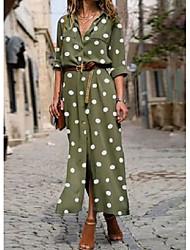 cheap -Women's Swing Dress Maxi long Dress ArmyGreen Black Red Dark Blue Long Sleeve Dot Spring Summer Casual 2021 S M L XL XXL XXXL