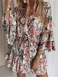 cheap -Women's A Line Dress Short Mini Dress Blushing Pink Green Dark Blue Long Sleeve Print Front Tie Spring Summer V Neck Holiday Casual / Daily 2021 S M L XL XXL XXXL