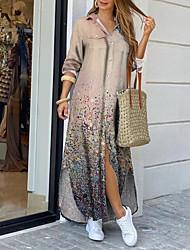 cheap -Women's Shirt Dress Maxi long Dress Beige Long Sleeve Print Color Gradient Print Spring Summer Shirt Collar Casual Holiday 2021 S M L XL XXL 3XL