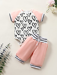 cheap -Baby Girls' Basic Print Short Sleeve Regular Clothing Set Blushing Pink