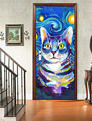 """cheap -2pcs Self-adhesive Creative 7 Color Cat Door Stickers For Living Room Diy Decorative Home Waterproof Wall Stickers 30.3""""x78.7""""(77x200cm), 2 PCS Set"""