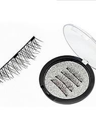 cheap -Magnetic Eyelashes with 3 Magnets Handmade Reusable 3D Fiber False Eyelashes for Makeup Natural False Eyelashes with Tweezers