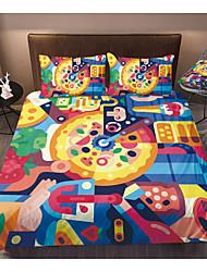 cheap -Print Home Bedding Duvet Cover Sets Soft Microfiber For Kids Teens Adults Bedroom Cartoon Pizza 1 Duvet Cover 1/2 Pillowcase Shams