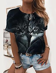 cheap -Women's Cat 3D Cat T shirt Cat Animal Print Round Neck Basic Tops Black