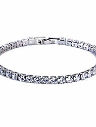 cheap -gemstoneworld 7.5inches tennis bracelet for women, 4mm round cut cubic zirconia cz white gold plated chain jewelry for birthday party wedding engagement xmas gift 7.5 inches