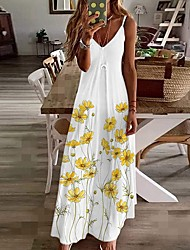 cheap -Women's Strap Dress Maxi long Dress Safflower on black Green on white Yellow on white Purple on white Cyan on white Sleeveless Pattern Summer Casual 2021 S M L XL XXL / Cotton / Cotton