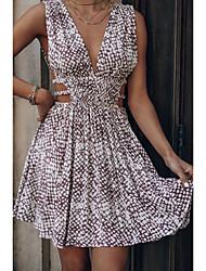 cheap -2021 european and american cross-border spring and summer new style snakeskin print v-neck fashion waist short dress 8427