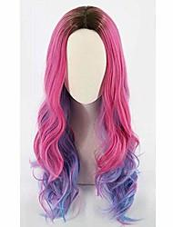 cheap -halloweencostumes descendant 3 audrey children child girl wig role play dark black root pink big waves long purple hair mix color