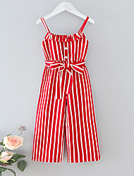 cheap -Kid Girls' Striped Waist Jumpsuit Red Color