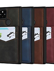 cheap -Phone Case For Google Back Cover Google Pixel 4a Google Pixel 5 Card Holder Shockproof Dustproof Solid Colored PU Leather Genuine Leather