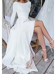 cheap -A-Line Minimalist Elegant Engagement Formal Evening Dress Jewel Neck Long Sleeve Floor Length Italy Satin with Pleats 2021