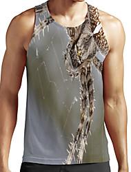 cheap -Men's Unisex Tank Top Undershirt Shirt 3D Print Graphic Prints Spider Animal Plus Size Print Sleeveless Casual Tops Basic Fashion Designer Breathable Round Neck Green / Sports / Summer
