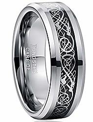 cheap -vakki 8mm black carbon fiber tungsten carbide wedding engagement bands with celtic dragon comfort fit size 7