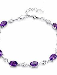 cheap -zwmm ladies fashion amethyst female silver bracelet double heart amethyst bracelet jewelry purple diamond