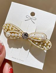 cheap -korea pearl bowknot clip headdress pearl girl hairpin net red retro hair accessories female spring clip female hairpin