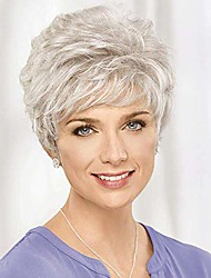 cheap -halloweencostumes short wigs for women natural looking old lady wig for mom short curly gray wig with bangs for white women heat resistant synthetic fiber hair wigs for old middle age women