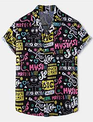 cheap -Men's Shirt Guitar Letter Button-Down Short Sleeve Casual Tops Cotton Casual Fashion Hawaiian Breathable Black / Beach